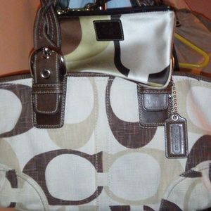Brown Coach bag and wristlet